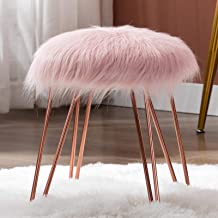 Duhome Mongolian Faux Fur Ottoman Round Foot Rest Stool Vanity Stool Makeup Stool with Rose Gold Metal Hair Pin Legs for B...