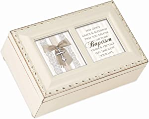 Cottage Garden May God's Grace Blessings Baptism Ivory Goldtone Trim Petite Jewelry Music Box Plays Jesus Loves Me