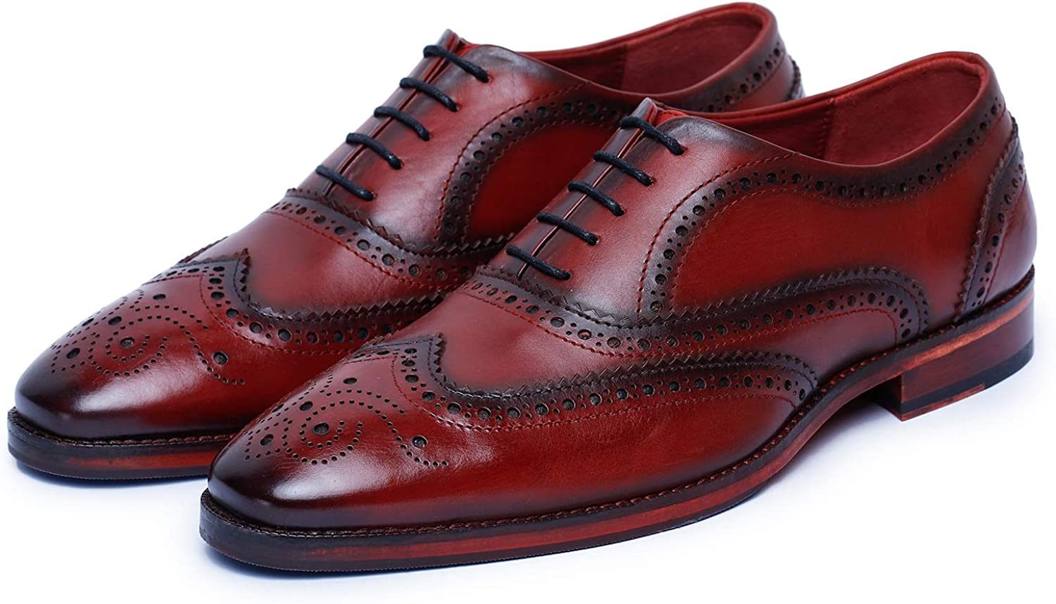 Lethato Wingtip Brogue Oxford Handcrafted Men's Genuine Leather Lace up Dress Shoes