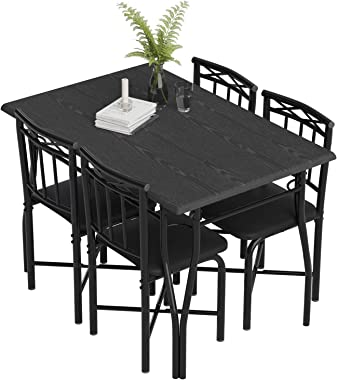 5 Piece Dining Table Set for Dining Room, Kitchen Table and Faux Leather Chairs for 4, Metal Legs, Padded Seat, Black Home Fu