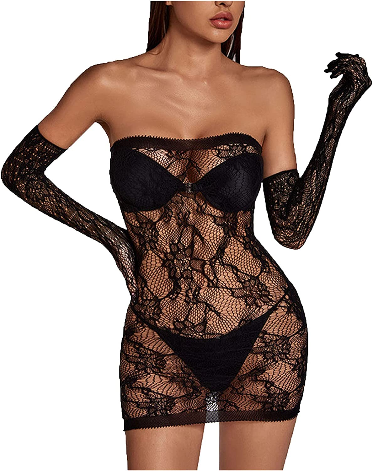 CofeeMO Plus Size Lingerie for Women Sexy Solid Lace Underwear Corset Hollow Push Up Bra and Panty Pajama Set with Garter