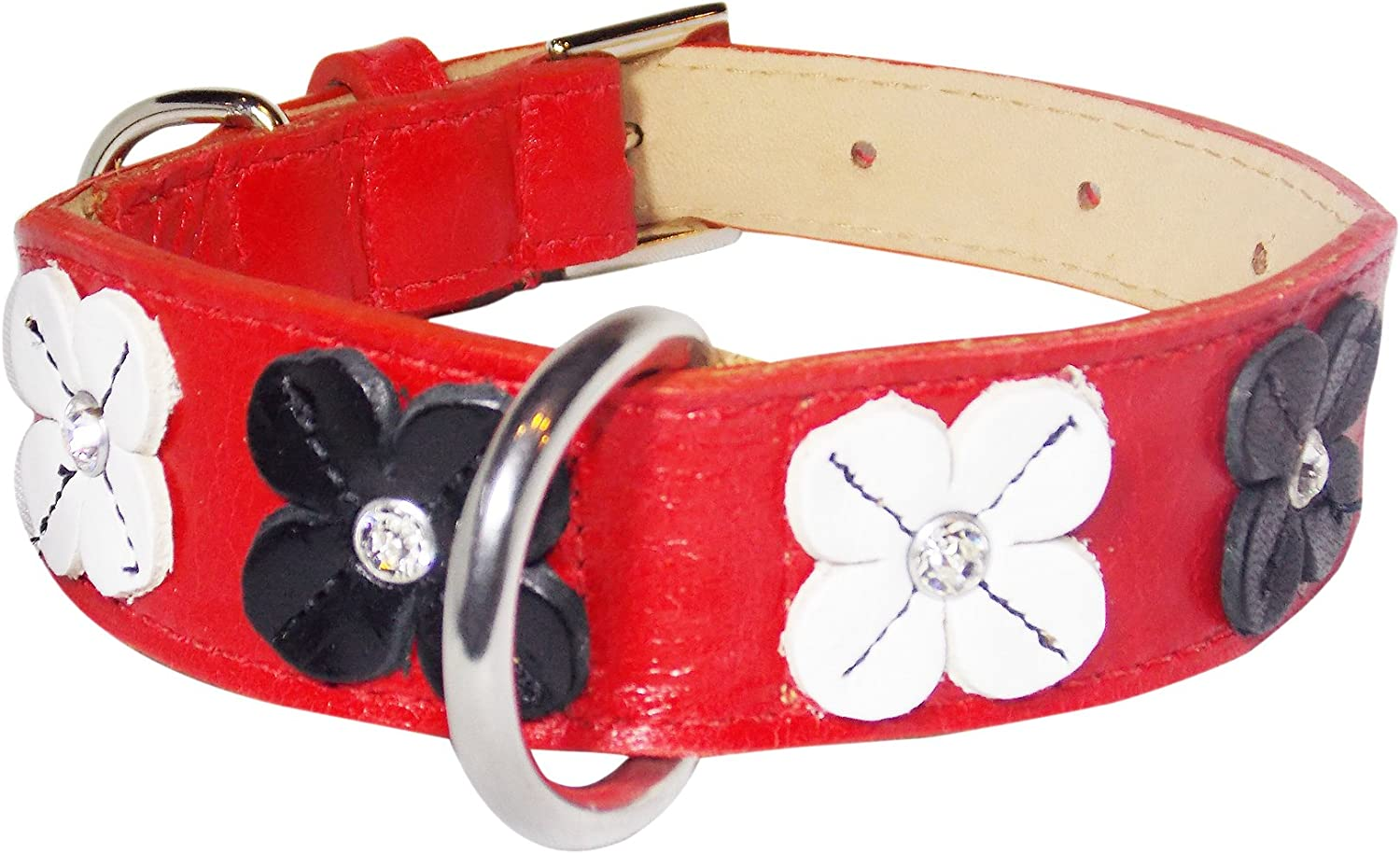 POOCHEE DESIGNS Flower Rivet Tapered Dog Collar, Small Size 911, Red with Black and White Flowers