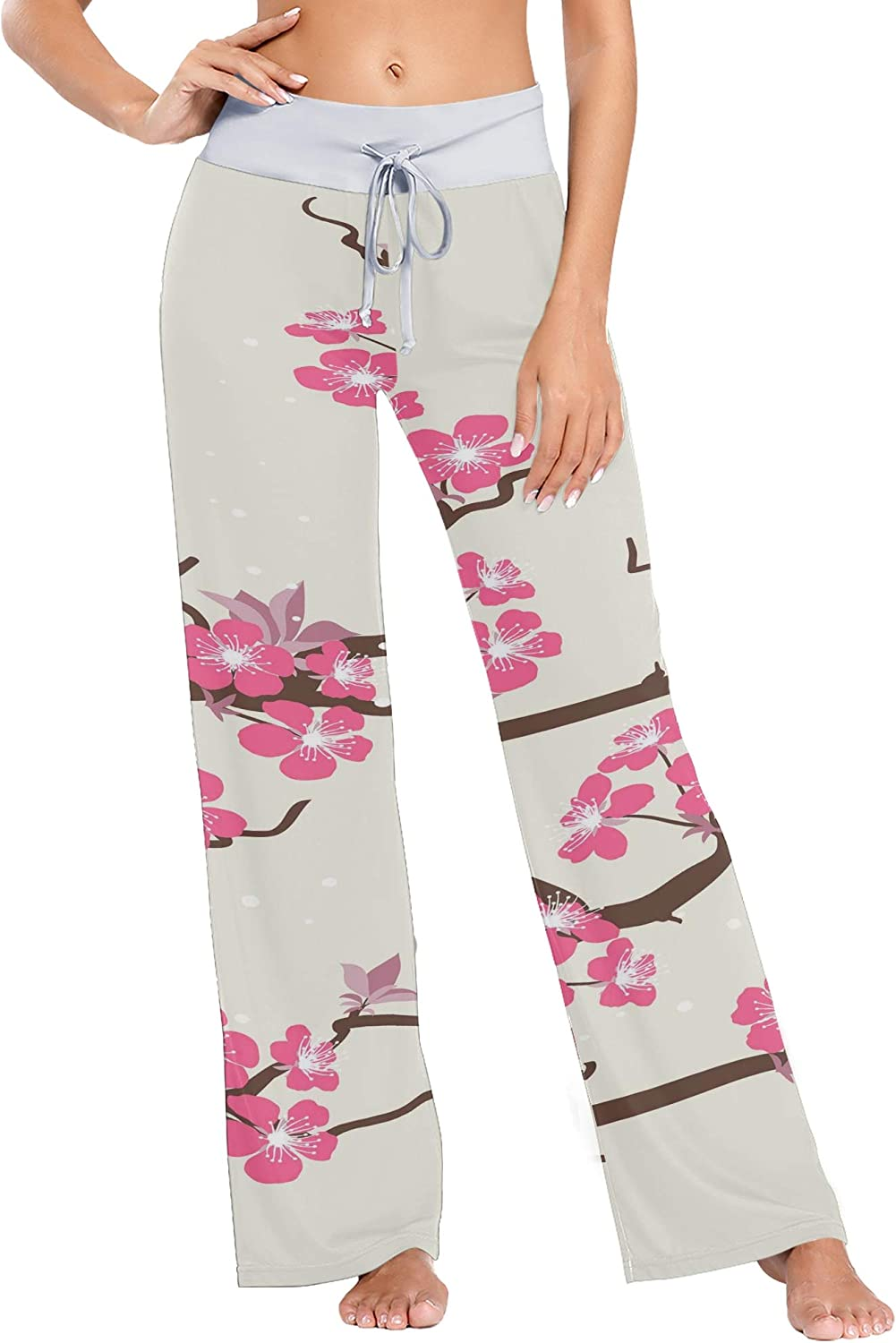 Ladies Bargain Pajama Long-awaited Bottoms Card with Flowers Cherry Blossom Stylized