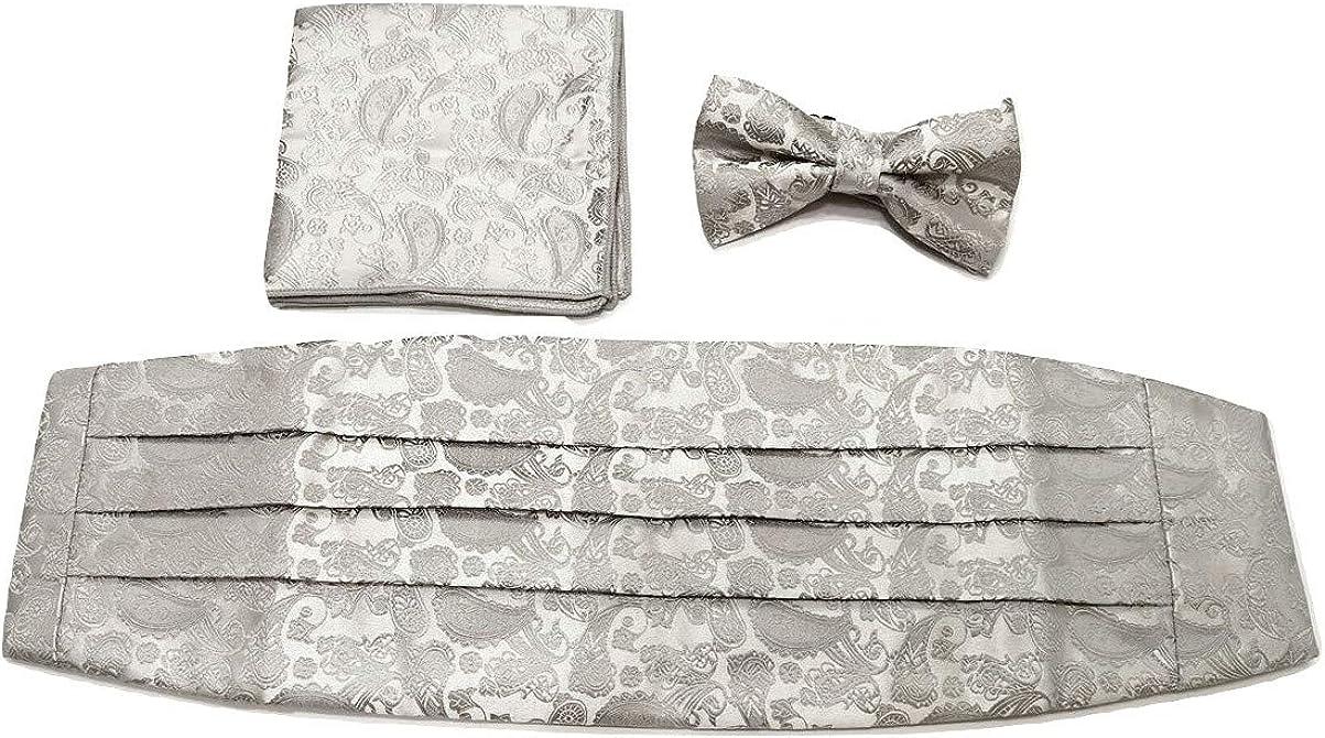 L&L 3 Pcs Satin Paisley Matching Cummerbund + Bow Tie + Pocket Square Set
