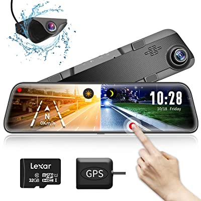 "Mirror Dash Cam Car Backup Camera,12"" IPS Full ..."