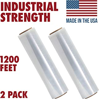 18 Inch X 1200 feet Tough Pallet Shrink Wrap, 80 Gauge Industrial Strength, Commercial Grade Strength Film, Moving & Packing Wrap, For Furniture, Boxes, Pallets (2-Pack)