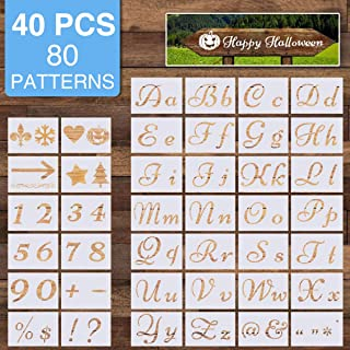 40 Pcs, 80 Characters Letter Stencils for Painting on Wood, ARTISTORE Alphabet Stencils with Calligraphy Font Upper and Lowercase Letters, Versatile Art Craft Stencils with Numbers and Signs
