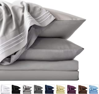 LIANLAM Twin XL 4 Piece Bed Sheets Set - Super Soft Brushed Microfiber 1800 Thread Count - Breathable Luxury Egyptian Sheets Deep Pocket - Wrinkle and Hypoallergenic(Twin XL, Grey)