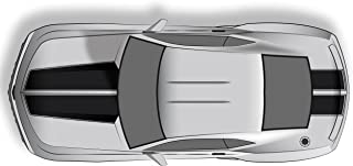 Factory Crafts Hood & Trunk Stripes Graphics Kit 3M Vinyl Decal Wrap Compatible with Chevrolet Camaro 2010-2015 - Gloss Black