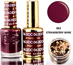 DND DC Reds GEL POLISH DUO, Gel Lacquer 0.5 oz + Matching Nail Polish Color 0.5 oz, Daisy Nails (with bonus side Glitter) Made in USA (Strawberry Wine (062))
