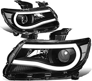 DNA MOTORING HL-LB-CCO15-BK-CL1-T2 Pair 3D LED DRL Tube Bar Projector Headlight Lamps Set Replacement
