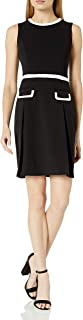 Tommy Hilfiger Women's Scuba Crepe Outlined Fit and Flare Dress