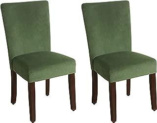 HomePop Parsons Classic Upholstered Accent Dining Chair, Set of 2, Dark Green Velvet