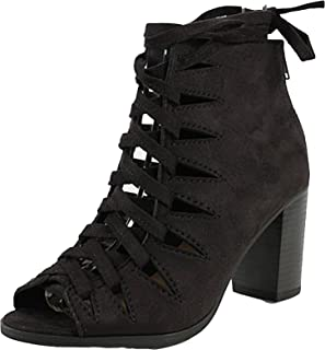 Delicious Women's Hewitt Faux Suede Lace Up Thick Crisscross Lace Stacked Heel Ankle Bootie