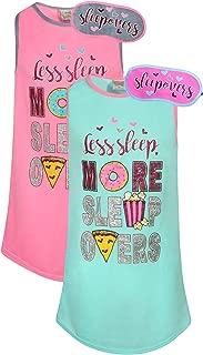 Sweet & Sassy Girls Short Sleeve Nightgown Pajama with Eye Mask (2 Pack)