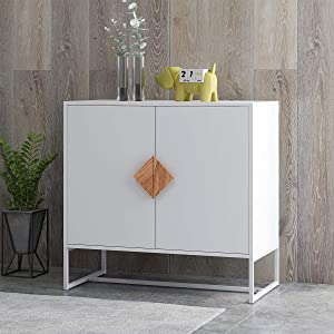 Sideboard RASOO 2 Doors White Modern Kitchen Buffet Storage Cabinet Cupboard Furniture with Solid Wood Square Handles and Metal Legs
