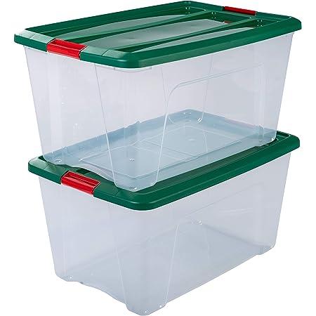 Amazon Basics Lot de 2 boîtes de Rangement avec Couvercle-New Top Box édition Noël NTB-45, Plastique, Vert, 45 L, 58 x 39,5 x 30,5 cm