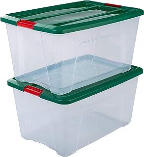 Amazon Basics Lot de 2 boîtes de Rangement avec Couvercle-New Top Box édition Noël NTB-45, Plastique, Vert, 45 L, 58 x 39,...