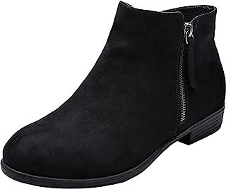 Women's Wide Width Ankle Booties - Low Flat Heel Side Zipper Round Toe Suede Comfy Boots.