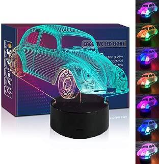 HIPIYA Vintage Beetle Car LED 3D Illusion USB Truck Lamp Multi Color Optical Vehicle Night Light Christmas Present Birthday Gift for Boy Boyfriend Kid Nursery Bedroom Decoration Room Decor (Beetle1)