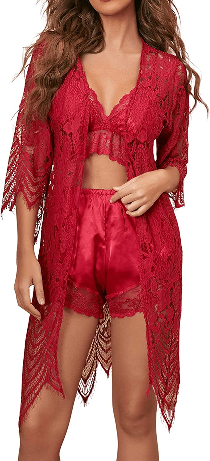 Romwe Women's Mesh Satin Lace Bralette and Shorts Pajama Lingerie Set with Robe