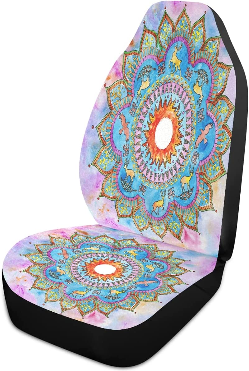 Oarencol Mandala Deer Max 45% OFF Ravens Flower Pink New product! New type Covers Seat Car Galaxy