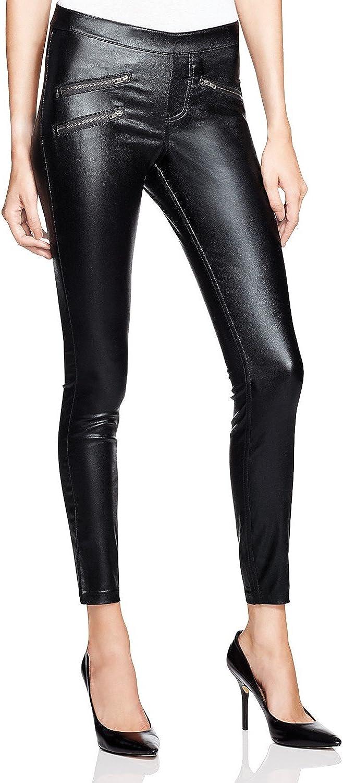 HUE Women's Zippered Glossy Denim Leggings