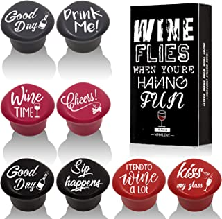 Whaline 8 Pack Wine Bottle Stoppers and Gift Box, Funny Silicone Reusable Caps Bottle Sealers with a Funny Saying for Wine Beverage and Beer Bottles (Purple, Red, Grey, Black)