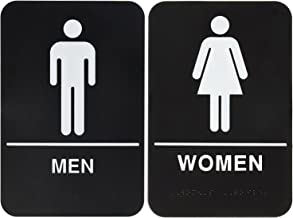 Unisex Men And Women Handicapped Bathroom And Restroom Signs 2 Pack, Unisex Handicapped ADA Approved Public And Private Indoor Outdoor Areas With Raised Tactile Braille Writing System