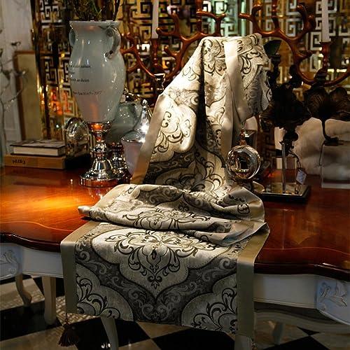 QiangZi Tischl er Tischdecke Büro Küche Esszimmer Hochzeit Wohnkultur Tischset Tischdecke Silber Blaumenmuster Stückerei Stoff Gelb Quaste (30  200cm  ) ( Farbe   Hellbraun , Größe   30220cm )