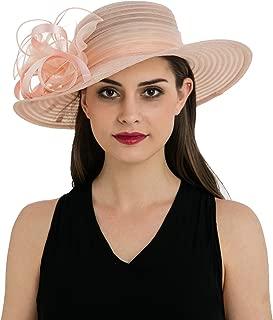 Prefe Women's Organza Church Kentucky Derby Hat Floral Ribbon Fascinator Bridal Tea Party Wedding Hat