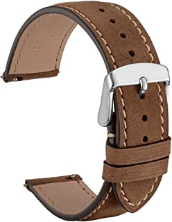 WOCCI Quick Release Watch Band 18mm 20mm 22mm, Suede Vintage Leather Strap with Silver Buckle
