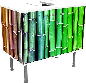 wandmotiv24 Mueble de baño Bambú Colorido Asia Frente y Lados pegando Mueble de diseño Mueble de Lavabo M0229