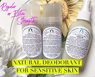 Bare Pits Magnesium Enriched Natural Organic Detox Deodorant For Sensitive Skin Baking Soda & Aluminum FREE REG or EXTRA STRENGTH 2.2oz