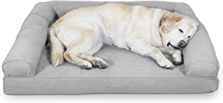Furhaven Pet Dog Bed   Cooling Gel Memory Foam Orthopedic Quilted Sofa-Style Couch Pet Bed for Dogs & Cats, Silver Gray, J...