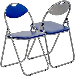 Harbour Housewares Silla de Escritorio Plegable - con Acolchado Azul - Pack de 4
