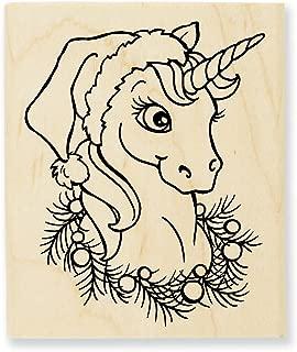Stampendous Wood Stamp, Unicorn Christmas