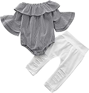 Toddler Baby Girl Clothes Fall Sets, Newborn Ruffle Romper Jumpsuit Tops Floral + Halen Pants Outfit Set