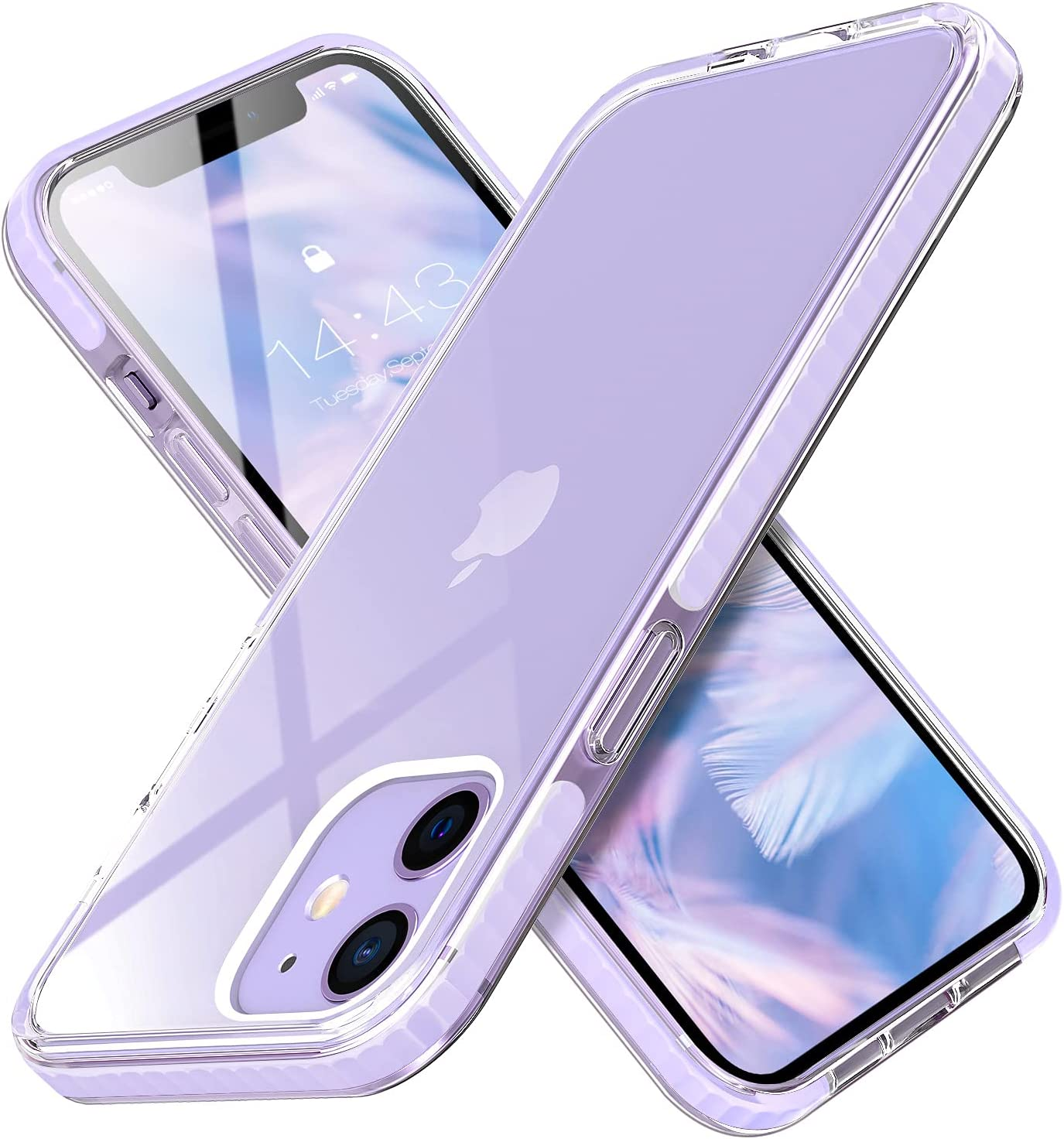 MATEPROX Compatible with iPhone 12 Pro Case and iPhone 12 Cases Clear Thin Slim Crystal Transparent Cover Shockproof Bumper Case(Purple)
