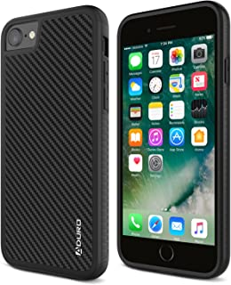 Aduro iPhone 8 / iPhone 7 Case, Carbon Fiber Case with Two Layer Shock Absorption Rubber Grip and Raised Edges, Hard Cover Drop Protection Case for Apple iPhone 8 and iPhone 7