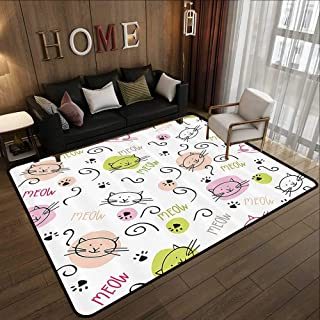 Rubber mat,Cat Lover Decor Collection,Cartoon Pattern with Cats Paws Curvy Lines Meow Sign Doodle Style Artwork,Green Pink Beige 63