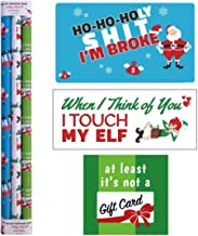 "Snarky Wraps - Funny Holiday Xmas Gift Wrap Paper for Adults - 30"" x 120"" -Three Rolls- 10 feet Continuous roll."