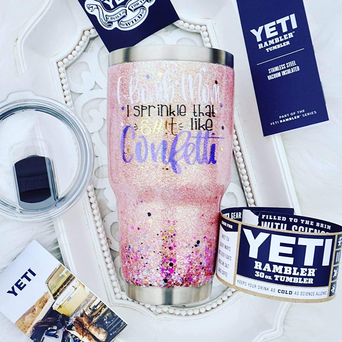 F-Bomb Mom I Sprinkle That S#!t Like Confetti 30 OZ GLITTER YETI RAMBLER Tumbler MagSlider Lid Gift For MOM Double Walled Stainless Steel Pink Opal Pearl Sealed FDA FOOD SAFE Epoxy Resin Shit Censored