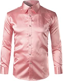 Mens Regular Fit Long Sleeve Shiny Satin Silk Like Dance Prom Dress Shirt Tops