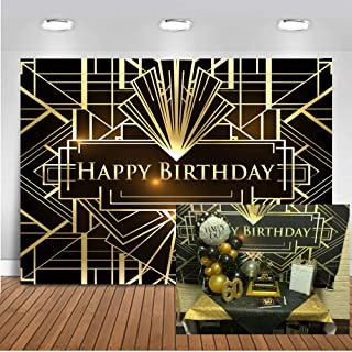 Mocsicka Happy Birthday Backdrop The Great Gatsby Theme Irregular Black and Gold Stripe Photography Background 7x5ft Vinyl 1920s Photo Props Studio Booth Background