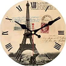 Tanng Famous Place Scenery Fashioned Chic Clock, Wooden Wall Clock for Living Room Lounge Study Bedroom,Silent Round Wall Clock,Tower Wall Clock 2,40cm