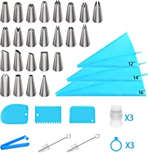 Ouddy Piping Bags and Tips Set, Cake Decorating Supplies Kit Frosting Tips and Bags with 24 Piping Tips, 3 Reusable Silico...