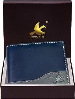 Hornbull Buttler Men's Navy Blue Genuine Leather RFID Blocking Wallet