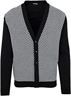 Relco Mens Retro 60s Ska Checkered Button Knit Cardigan