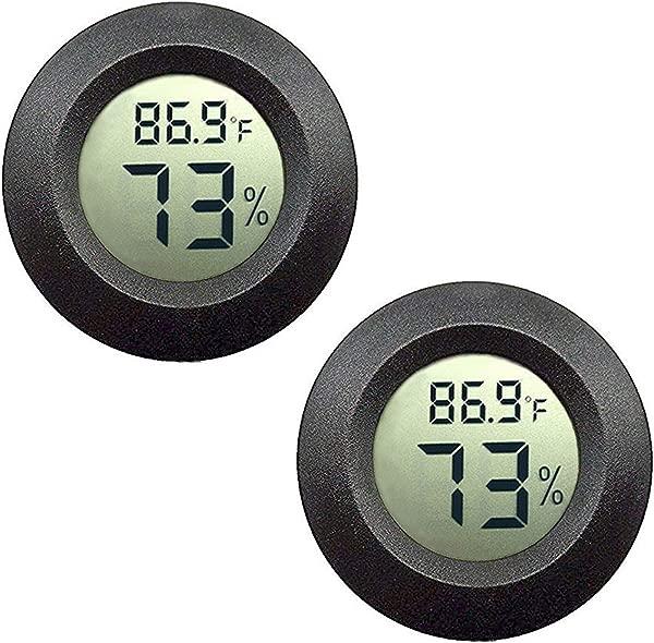 JEDEW 2 包迷你湿度计温度计数字液晶显示器室内室外湿度计加湿器除湿器温室地下室婴儿房华氏或摄氏黑色 2 包